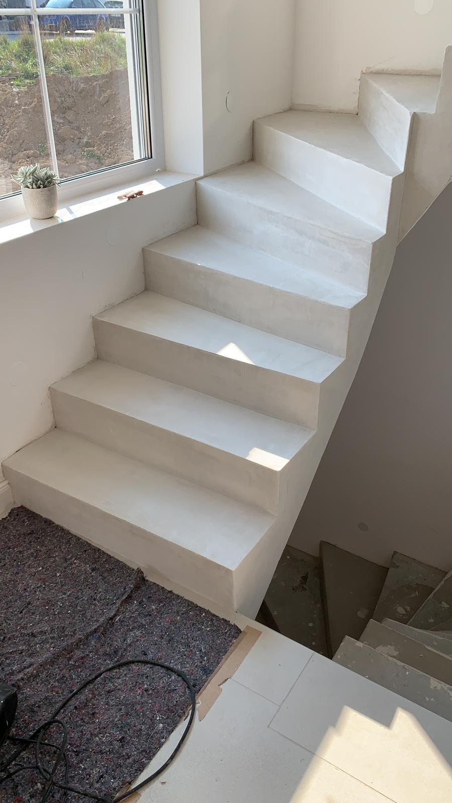 Beton Cire Unique - Baustellenbilder Treppenbeschichtung - DIY - Sichbetontreppe - Betonlook